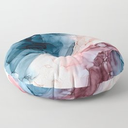 Pastel Plum, Deep Blue, Blush and Gold Abstract Painting Floor Pillow