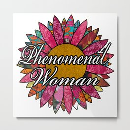 Phenomenal Woman Retro Flower Metal Print