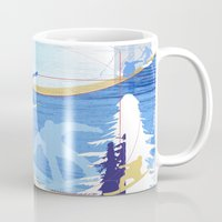 snowboarding Mugs featuring Snowboarding by Robin Curtiss