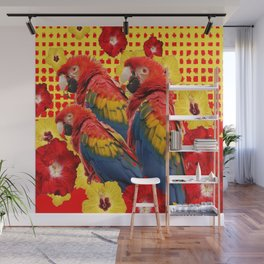 DECORATIVE TROPICAL RED MACAWS & HIBISCUS  FLOWERS Wall Mural