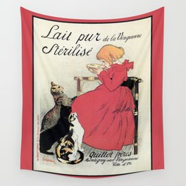 Vintage Art nouveau French milk advertising, cats, girl Wall Tapestry