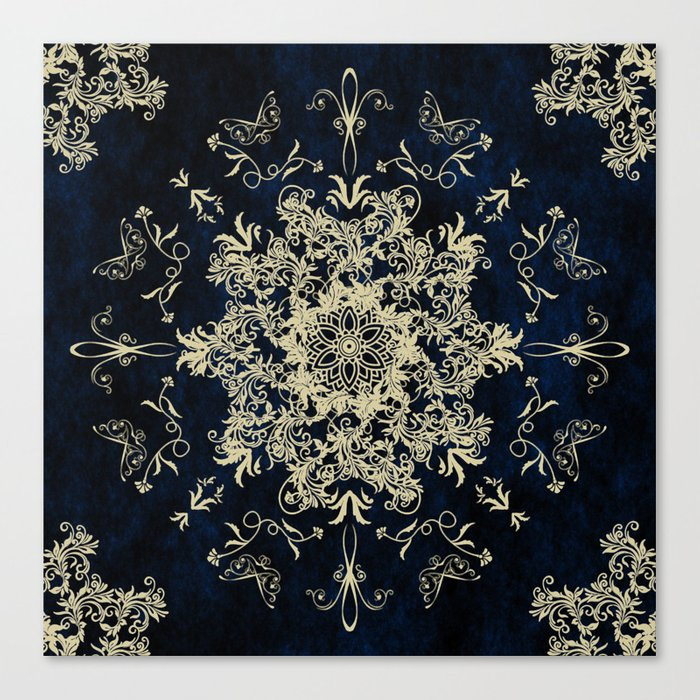 Pale Gold Floral Design On A Blue Textured Background Canvas Print