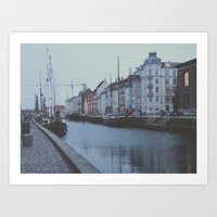 copenhagen Art Prints featuring Copenhagen by Gabriri