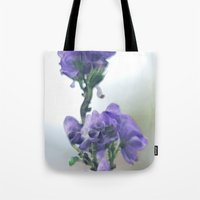 iris Tote Bags featuring Iris by Bella Blue Photography