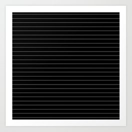 Black White Pinstripe Minimalist Art Print