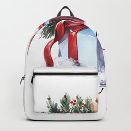 New Year's composition with candles, a gift and spruce branches. Backpack