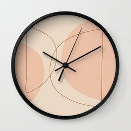 Hand Drawn Geometric Lines in Earthy Shades Wall Clock
