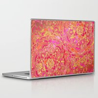 baroque Laptop & iPad Skins featuring Hot Pink and Gold Baroque Floral Pattern by micklyn