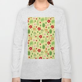 Tropical yellow red green modern floral pattern Long Sleeve T-shirt