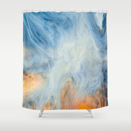 Japanese Waves Marbling Art Shower Curtain
