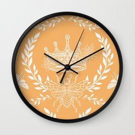 Queen Bee - Royal Crown in Honey Orange Wall Clock