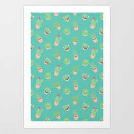 Cactus and Succulent Illustration in Sea Green Art Print