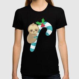 Christmas Sloth, Sloth With Candy Cane, Mistletoe T-shirt