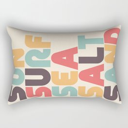 Retro Sun Surf Sea Salt Sand Typography Rectangular Pillow
