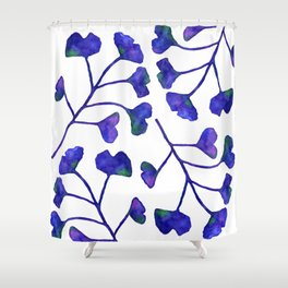 Ginkgo Leaves Watercolor Indigo on white Shower Curtain