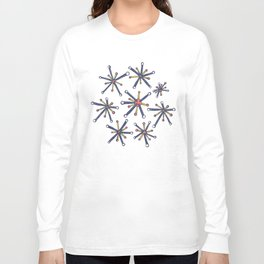 Viruses Resembling Molecules - Retro Modern Microbiology Pattern Long Sleeve T-shirt