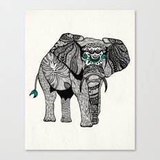 Tribal Elephant Black and White Version Canvas Print