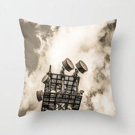 Radio Tower Cloudy Sky sepia Throw Pillow
