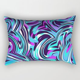 psychedelic spiral painting abstract pattern in blue pink and black Rectangular Pillow
