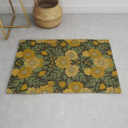 Dark Fall/Winter Floral in Yellow & Green Rug