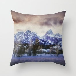 Sunset Behind the Tetons painterly version Throw Pillow