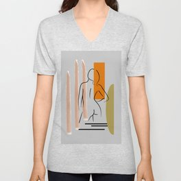 Woman one line drawing, Female figure printable wall art, Nude art, Woman body Unisex V-Neck