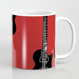 3 Electric Guitars (blck on red) Coffee Mug