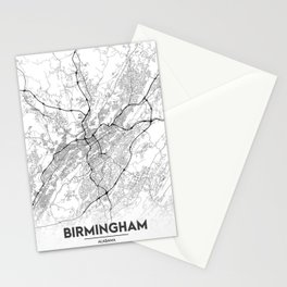 Minimal City Maps - Map Of Birmingham, Alabama, United States Stationery Cards