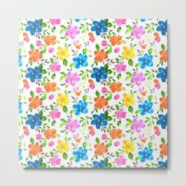 watercolor spring flower pattern Metal Print