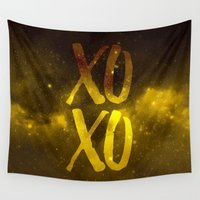 xoxo Wall Tapestries featuring XOXO by cat&wolf