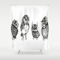 owls Shower Curtains featuring OWLS by Acus
