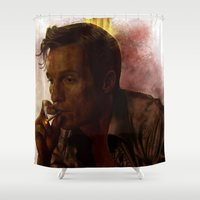true detective Shower Curtains featuring True Detective : Rust Cohle  by p1xer