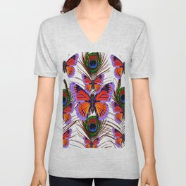 LILAC  FANTASY BUTTERFLIES GREEN PEACOCK EYES Unisex V-Neck