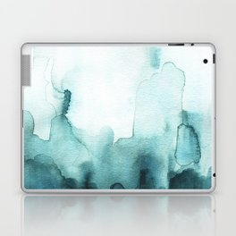 Soft teal abstract watercolor Laptop & iPad Skin
