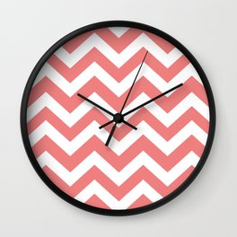 Light coral - pink color -  Zigzag Chevron Pattern Wall Clock