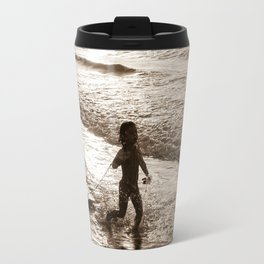 Little surfer girl runs in the waves with her bodyboard Travel Mug