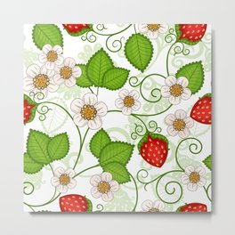 Strawberry fruit leaf flower floral star green red white Metal Print
