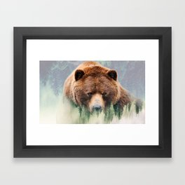 Grizzly Wood Framed Art Print