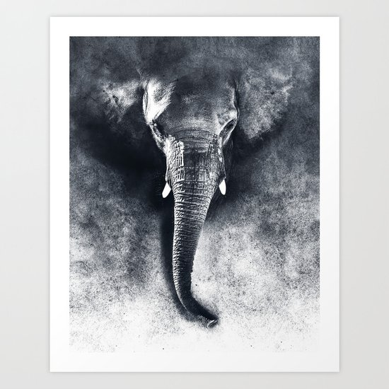 elephant black and white by rizapeker