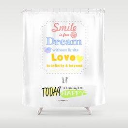 {ENG} SMILE · DREAM · LOVE Shower Curtain