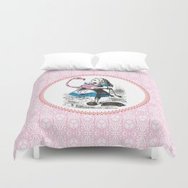 Alice in Wonderland | Alice playing Croquet with a Flamingo and Hedgehogs Duvet Cover
