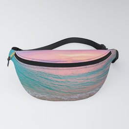 Aerial Photography Beautiful: Turquoise Sunset Relaxing, Peaceful, Coastal Seashore Fanny Pack