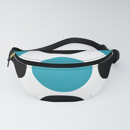 Mid Century Modern Polka Dot Pattern 9 Black and Turquoise Fanny Pack