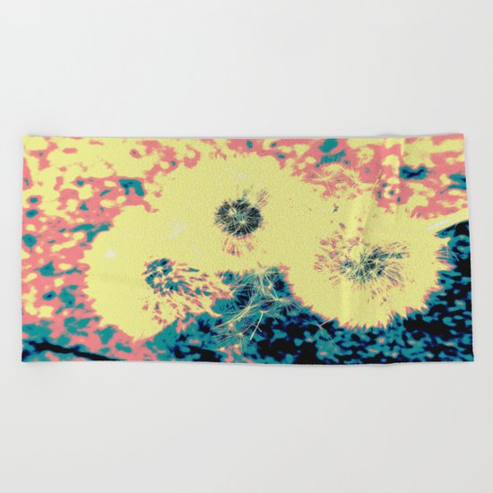 Three Dandelions Beach Towel