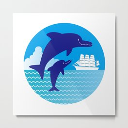 Parent-child of dolphin and a ship Metal Print