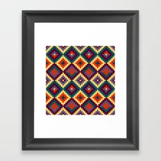 Aztec pattern - purple, red, blue, yellow Framed Art Print