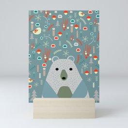 Winter pattern with baby bear Mini Art Print