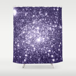 Dark Grape Purple Sparkle Stars Shower Curtain