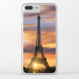 Eiffel tower at sunrise Clear iPhone Case