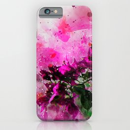 Bougainvillea branch watercolor iPhone Case